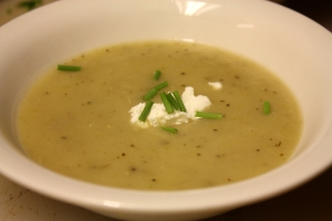 potato leek soup with a dallop of goat cheese